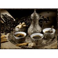 Декупажная карта «Кофе по-турецки на троих»
