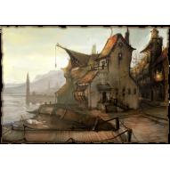 Декупажная карта «Рыбацкая деревенька»