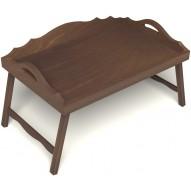 Столик для завтрака в постель с 3-мя фигурными бортиками цвет орех