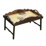 Столик для завтрака в постель «Русская берёза», с фигурным бортиком «Нежность»