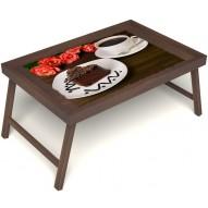 Столик для завтрака в постель «Русская берёза», «Чай, поданный с любовью» без ручек цвет орех