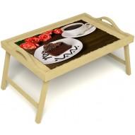 Столик для завтрака в постель «Чай, поданный с любовью» с ручками цвет светлый