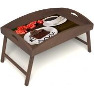 Столик для завтрака в постель «Чай, поданный с любовью» с высоким бортиком цвет орех