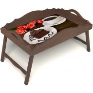 Столик для завтрака в постель «Русская берёза», «Чай, поданный с любовью» с фигурным бортиком цвет орех