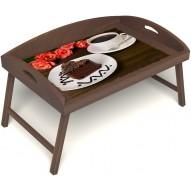 Столик для завтрака в постель «Русская берёза», «Чай, поданный с любовью» с 3-мя высокими бортиками цвет орех