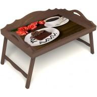 Столик для завтрака в постель «Чай, поданный с любовью» с 3-мя фигурными бортиками цвет орех