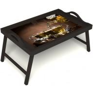 Столик для завтрака в постель «Чайная церемония» с ручками цвет венге