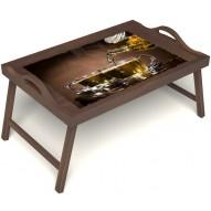 Столик для завтрака в постель «Чайная церемония» с ручками цвет орех