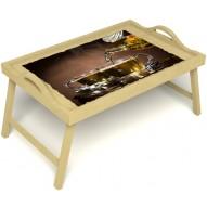 Столик для завтрака в постель «Чайная церемония» с ручками цвет светлый
