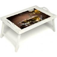 Столик для завтрака в постель «Чайная церемония» с ручками цвет белый