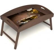 Столик для завтрака в постель «Чайная церемония» с высоким бортиком цвет орех