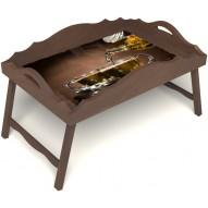 Столик для завтрака в постель «Русская берёза», «Чайная церемония» с фигурным бортиком цвет орех