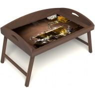 Столик для завтрака в постель «Русская берёза», «Чайная церемония» с 3-мя высокими бортиками цвет орех