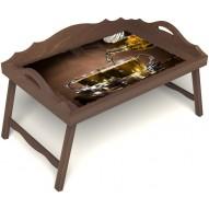 Столик для завтрака в постель «Чайная церемония» с 3-мя фигурными бортиками цвет орех