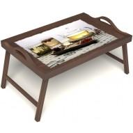 Столик для завтрака в постель «Любителям чая» с ручками цвет орех