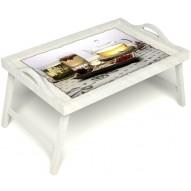 Столик для завтрака в постель «Любителям чая» с ручками цвет белый