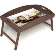 Столик для завтрака в постель «Любителям чая» с высоким бортиком цвет орех