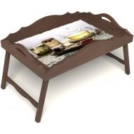 Столик для завтрака в постель «Русская берёза», «Любителям чая» с фигурным бортиком цвет орех
