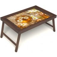 Столик для завтрака в постель «Ромашковый чай» без ручек цвет орех