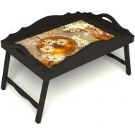 Столик для завтрака в постель «Русская берёза», «Ромашковый чай» с фигурным бортиком цвет венге