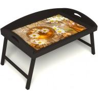 Столик для завтрака в постель «Русская берёза», «Ромашковый чай» с 3-мя высокими бортиками цвет венге