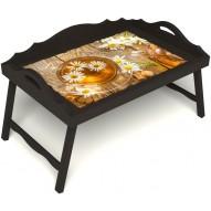 Столик для завтрака в постель «Русская берёза», «Ромашковый чай» с 3-мя фигурными бортиками цвет венге