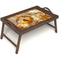 Столик для завтрака в постель «Ромашковый чай» с ручками цвет орех