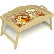 Столик для завтрака в постель «Русская берёза», «Ромашковый чай» с фигурным бортиком цвет светлый