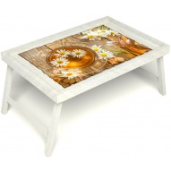 Столик для завтрака в постель «Ромашковый чай» без ручек цвет белый