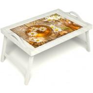 Столик для завтрака в постель «Ромашковый чай» с ручками цвет белый