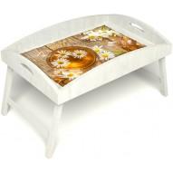 Столик для завтрака в постель «Русская берёза», «Ромашковый чай» с высоким бортиком цвет белый