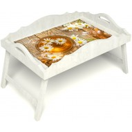 Столик для завтрака в постель «Русская берёза», «Ромашковый чай» с фигурным бортиком цвет белый