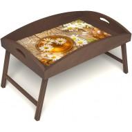 Столик для завтрака в постель «Русская берёза», «Ромашковый чай» с высоким бортиком цвет орех