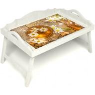 Столик для завтрака в постель «Русская берёза», «Ромашковый чай» с 3-мя фигурными бортиками цвет белый