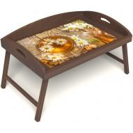 Столик для завтрака в постель «Русская берёза», «Ромашковый чай» с 3-мя высокими бортиками цвет орех