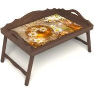 Столик для завтрака в постель «Русская берёза», «Ромашковый чай» с 3-мя фигурными бортиками цвет орех