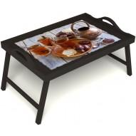 Столик для завтрака в постель «Восточное чаепитие» с ручками цвет венге