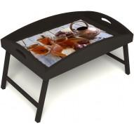 Столик для завтрака в постель «Восточное чаепитие» с высоким бортиком цвет венге
