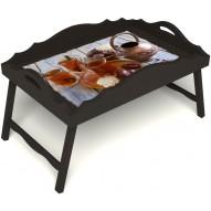 Столик для завтрака в постель «Русская берёза», «Восточное чаепитие» с фигурным бортиком цвет венге
