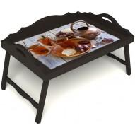 Столик для завтрака в постель «Русская берёза», «Восточное чаепитие» с 3-мя фигурными бортиками цвет венге