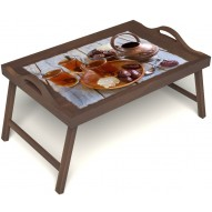 Столик для завтрака в постель «Восточное чаепитие» с ручками цвет орех