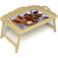 Столик для завтрака в постель «Русская берёза», «Восточное чаепитие» с 3-мя фигурными бортиками цвет светлый