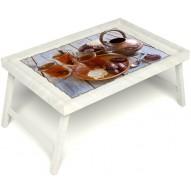 Столик для завтрака в постель «Русская берёза», «Восточное чаепитие» без ручек цвет белый