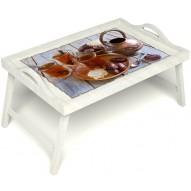 Столик для завтрака в постель «Восточное чаепитие» с ручками цвет белый
