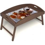 Столик для завтрака в постель «Восточное чаепитие» с высоким бортиком цвет орех
