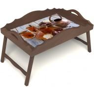 Столик для завтрака в постель «Русская берёза», «Восточное чаепитие» с фигурным бортиком цвет орех