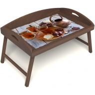 Столик для завтрака в постель «Русская берёза», «Восточное чаепитие» с 3-мя высокими бортиками цвет орех