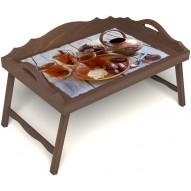 Столик для завтрака в постель «Восточное чаепитие» с 3-мя фигурными бортиками цвет орех
