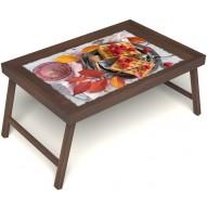 Столик для завтрака в постель «Малиновое настроение» без ручек цвет орех