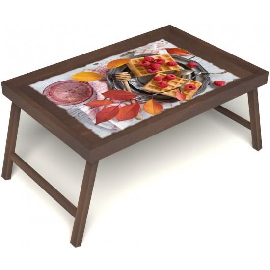 Столик для завтрака в постель «Русская берёза», «Малиновое настроение» без ручек цвет орех